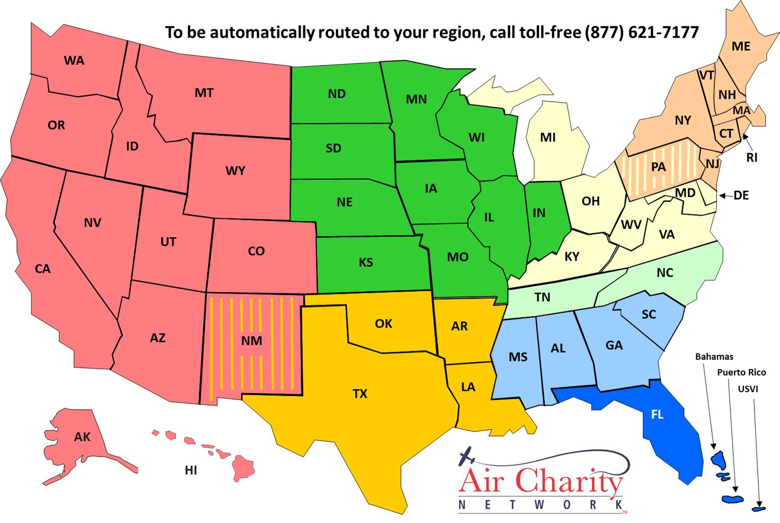 About Us Air Charity Network - Usa map with hawaii and alaska